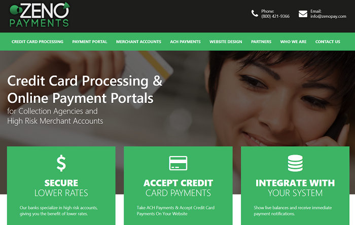 Zeno Payments homepage