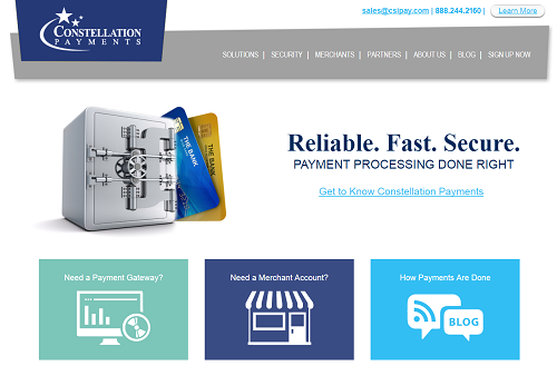 Constellation Payments homepage