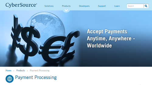 CyberSource homepage