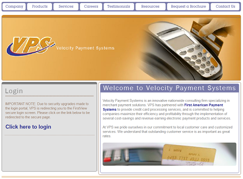 Velocity Payment Systems homepage
