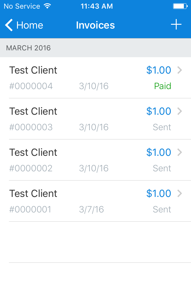 FreshBooks test invoices