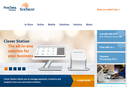 SunTrust merchant services homepage