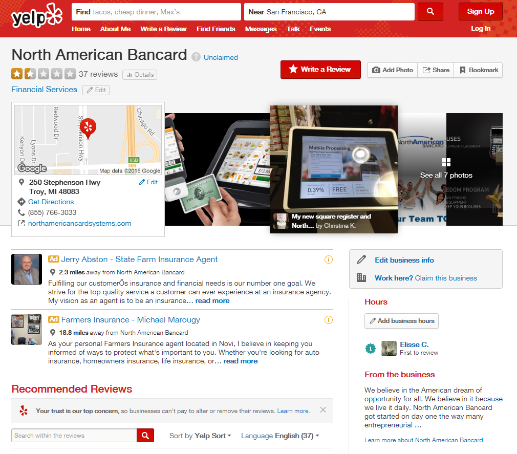 North American Bancard yelp