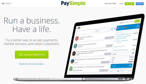 PaySimple homepage