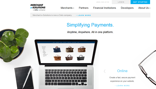 Merchant E-Solutions homepage