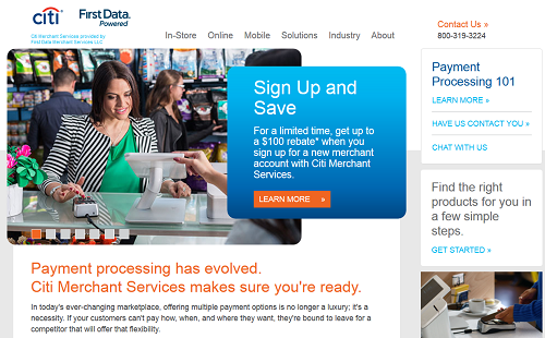 Citi Merchant Services homepage