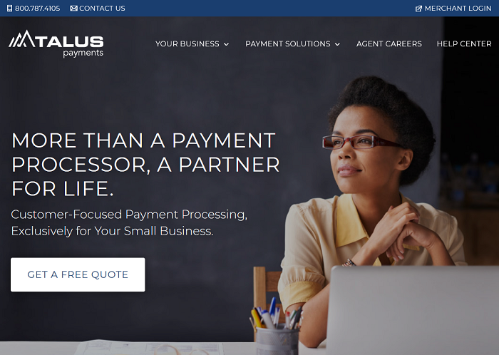 Talus Payments homepage