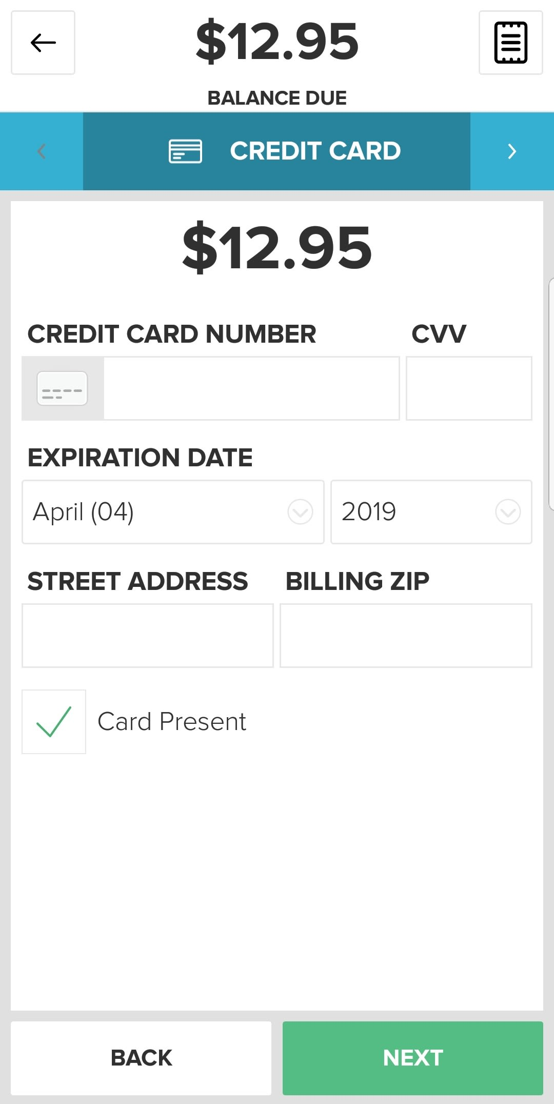 Vital mobile manual card entry