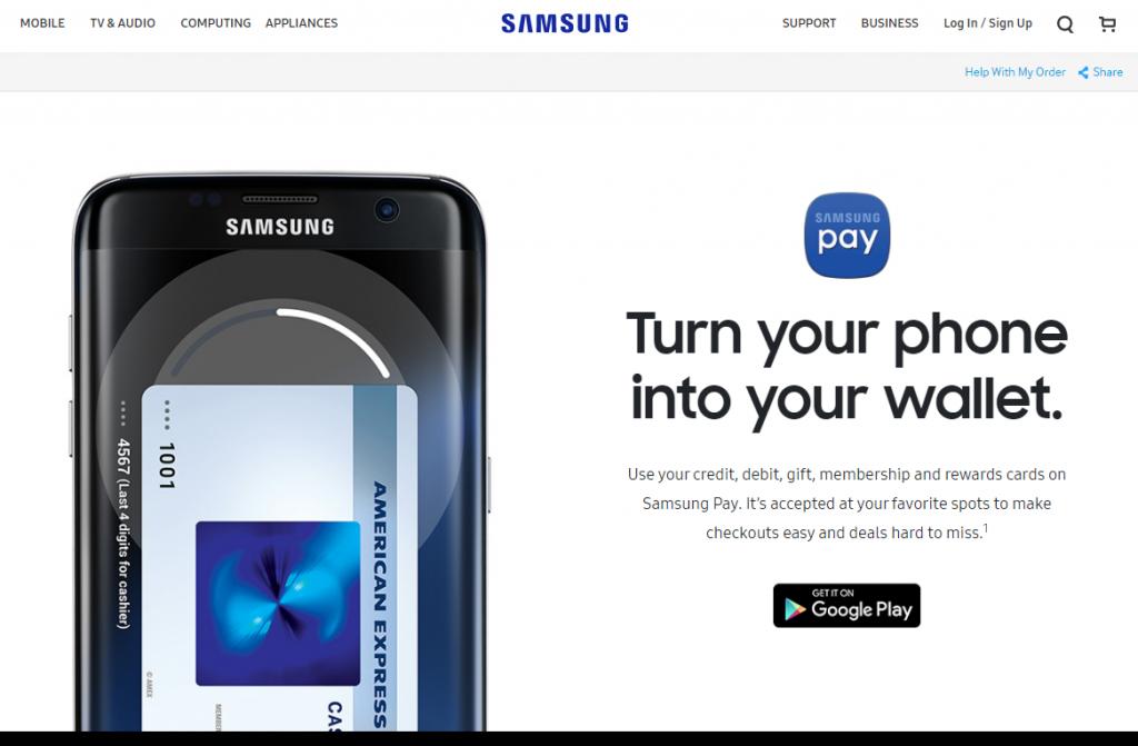 Samsung Pay homepage
