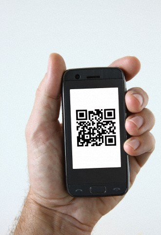 phone showing QR code
