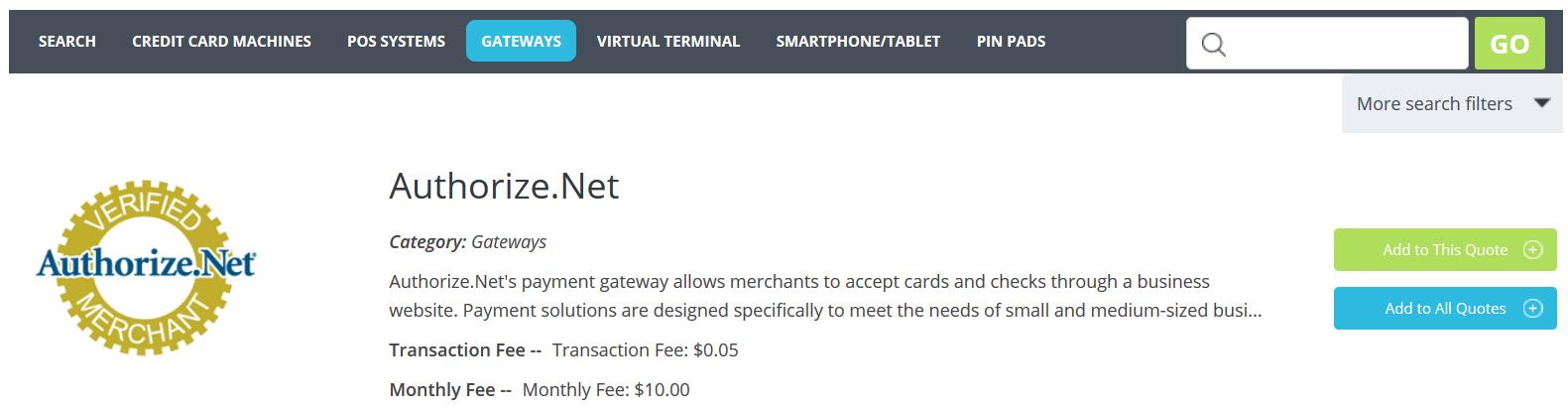 Authorize.Net gateway