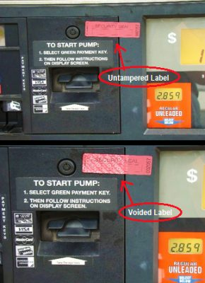 Tamper Stickers for Gas Stations