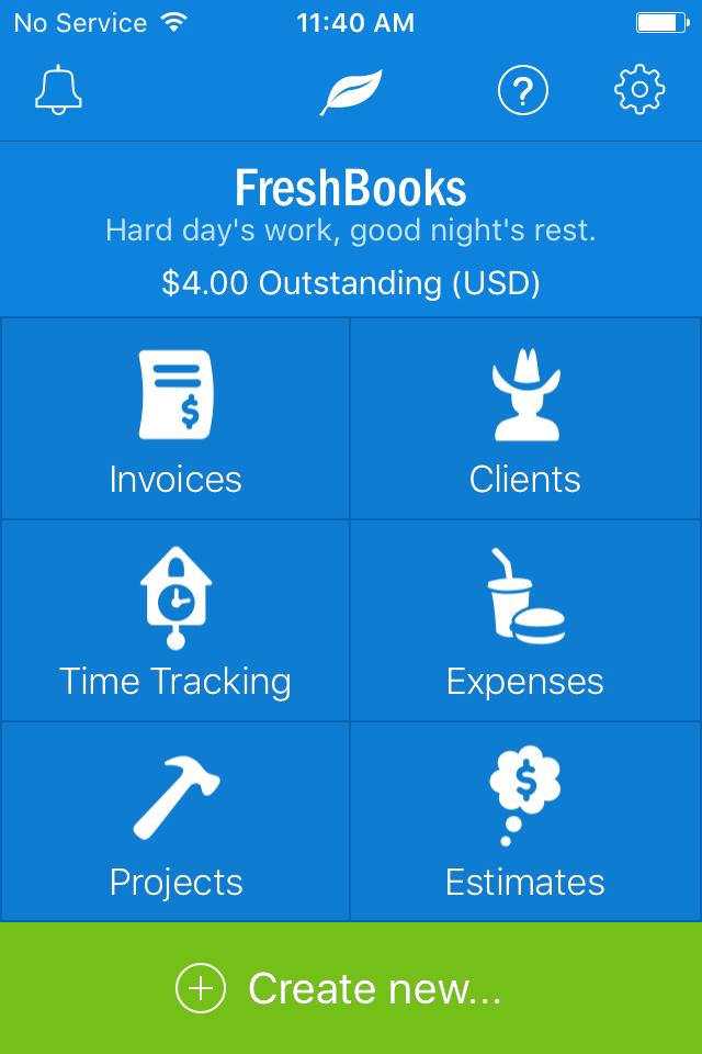 FreshBooks main screen