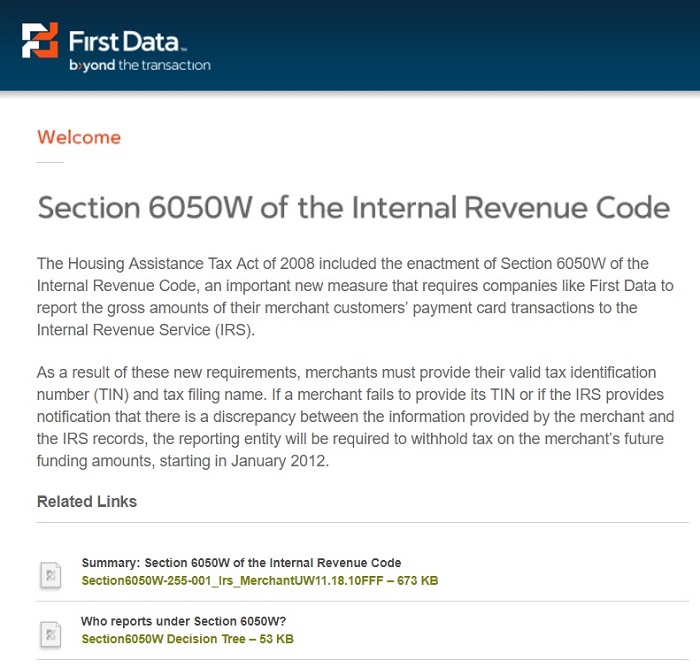 IRS section 6050w