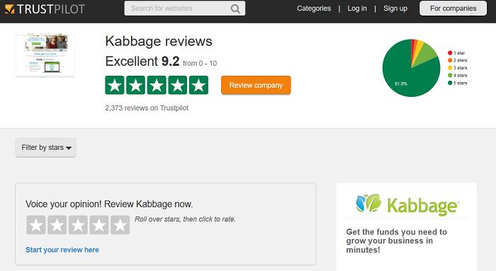 Kabbage TrustPilot