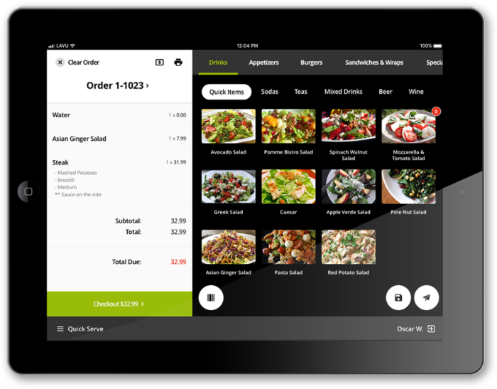 Lavu POS app order entry