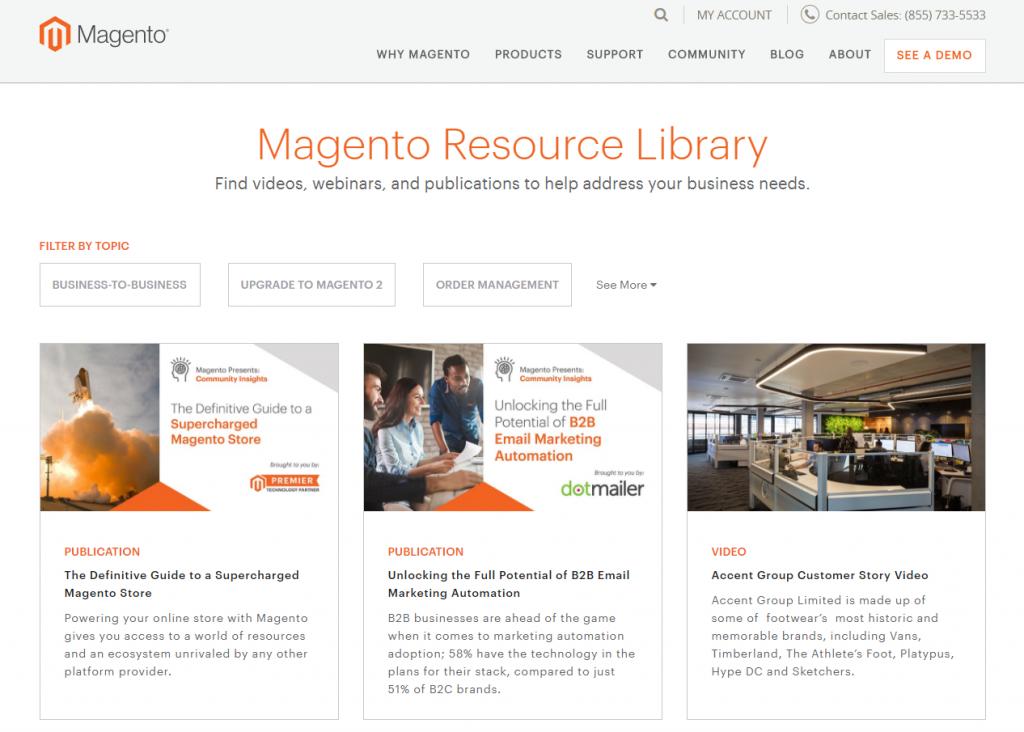 Magento resource library screenshot