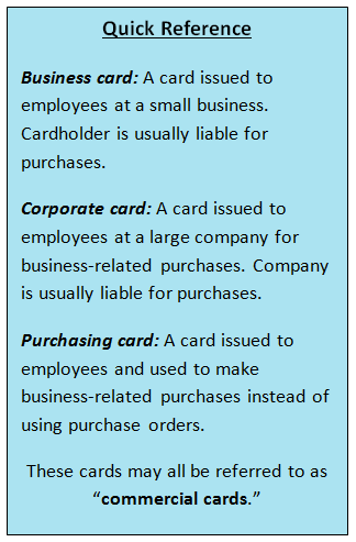 Types of commercial cards
