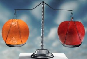 comparing apples and oranges on scales