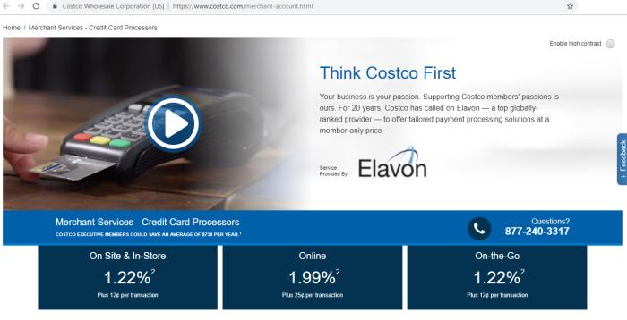 Coscto credit card processing rates