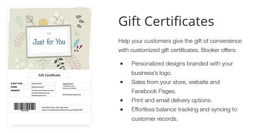Booker gift certificates