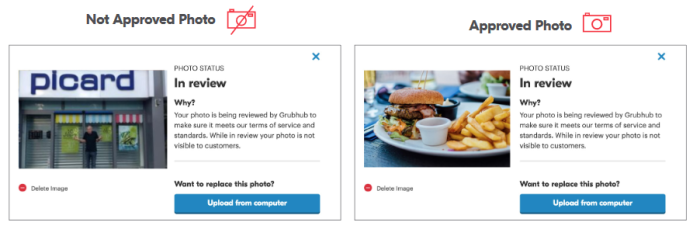 Grubhub photo approvals
