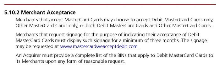 Mastercard limited acceptance