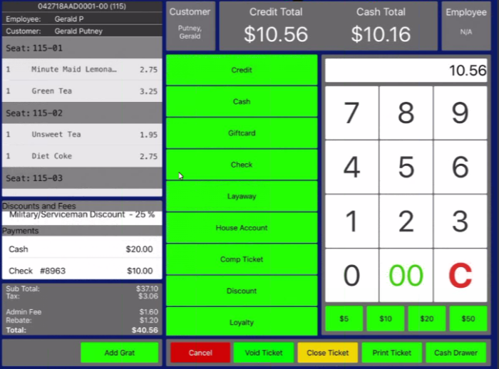 Paradise POS app order screen