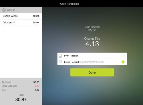 Shopkeep POS app receipt screen