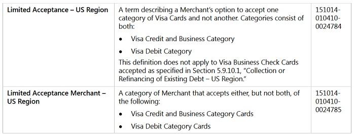 Visa limited acceptance