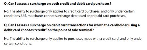 Visa debit surcharge